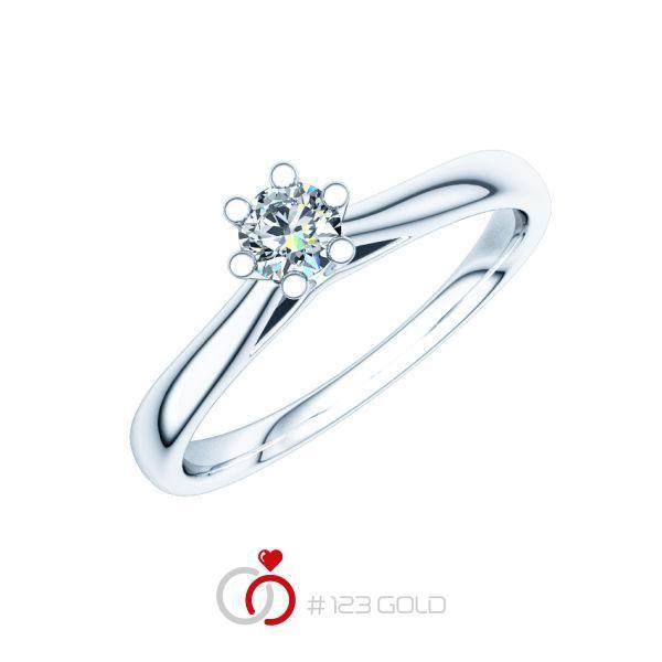 Verlobungsring Diamantring 6 Krappen, Zungenschiene- Legierung: Weißgold 585/- - Steinbesatz: 1 Brillant 0,2 ct. w, si