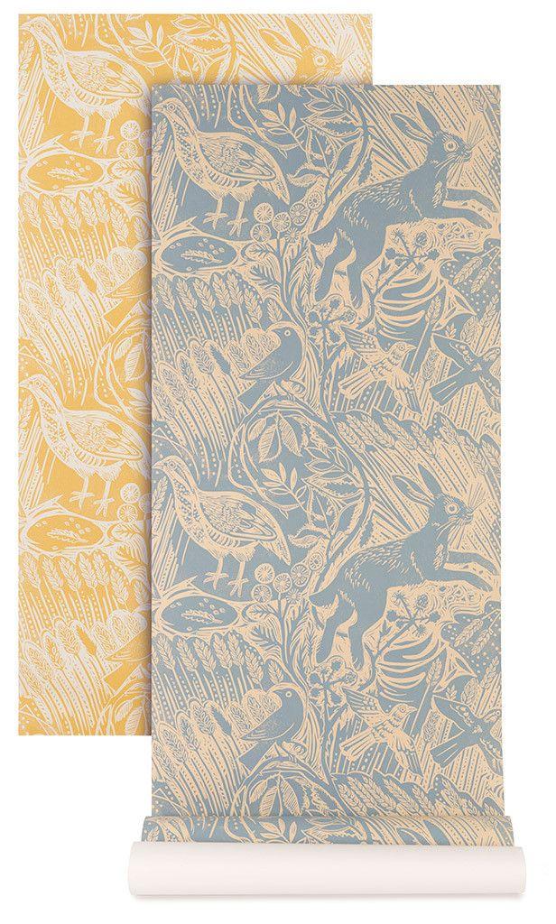 Mark Hearld - Harvest Hare - wallpaper - blue slate and corn