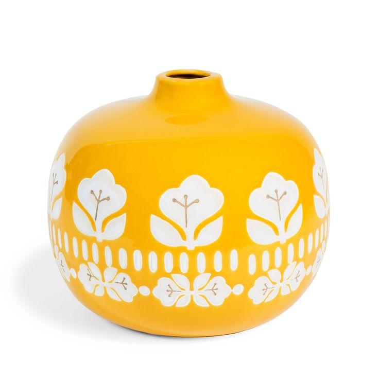 Vaso da fiori giallo in gres H 18 cm VINTAGE