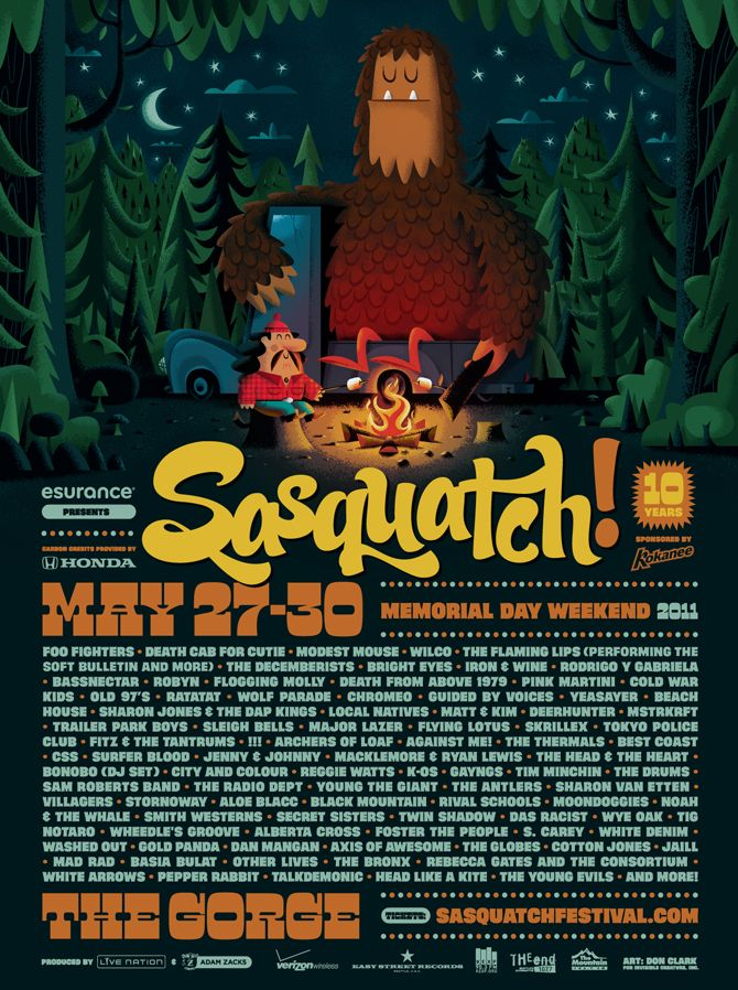 Love the colors, scene, type and illustration... and who doesn't love a friendly sasquatch?