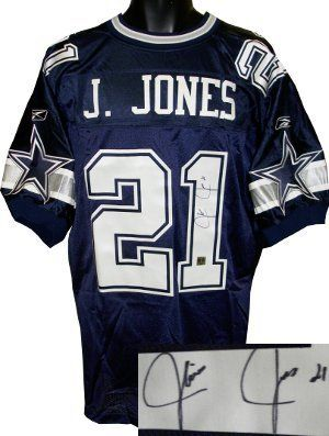 Julius Jones signed Dallas Cowboys Reebok Authentic Blue Jersey . $128.35. In 2004 the Dallas Cowboys drafted Julius Jones out of the University of Notre Dame in the second round. He is the younger brother of Kansas City Chiefs running back Thomas Jones and in 2006 they became the first brothers to each rush for 1,000 yards in the same season. Julius Jones has hand autographed this Dallas Cowboys Reebok Blue Authentic jersey. MB Hologram and Certificate of Authenticit...