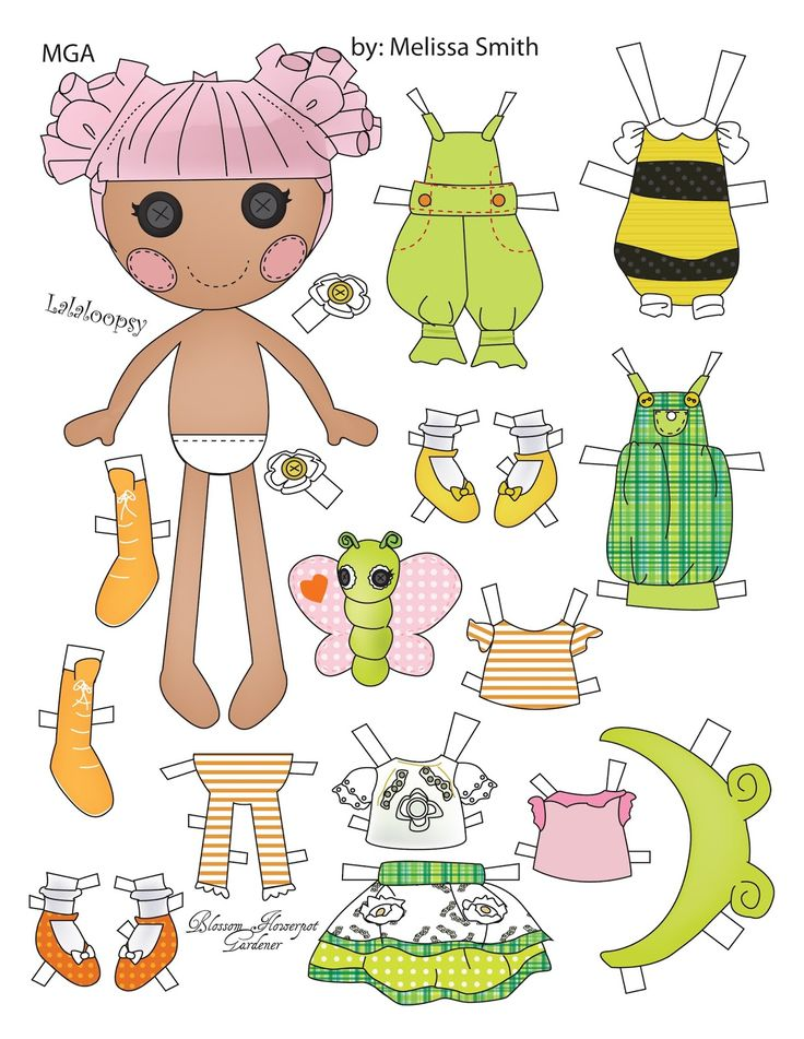 BLOSSOM FLOWER POT GARDENER Lalaloopsy Paper Doll created by MGA* originally sold in a two pack. Melissa Smith {AKA Miss Missy} designed the dolls using Adobe Illustrator. -BLOSSOM has a pet butterfly. (*MGA Entertainment [Micro-Games America Entertainment] is a manufacturer of children's toys and entertainment products founded in 1979.)