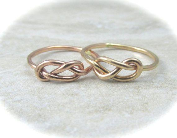 Solide Gold Infinity Ring / Gold Knot Ring / Schwester Klingeln / Bester  Freund Ring / Krawatten Knoten Ring / Ring Sweetheart / Valentinstag  Geschenk