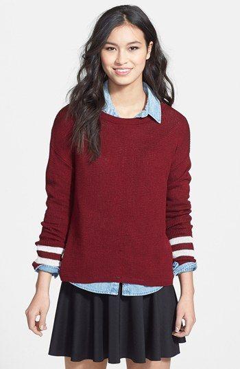Truehitt 'Varsity' Stripe Cuff Sweater (Juniors) available ...