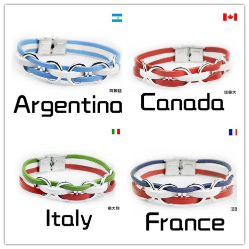 2016 Olympic National Flags Sports Genuine Leather Bracelet Stainless Steel France Country Italy Germany Men jewelry Women