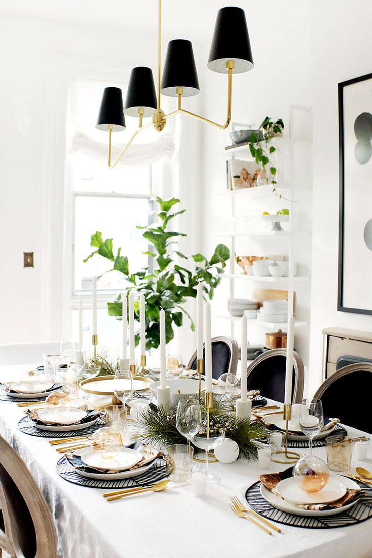 holiday table setting inspiration neutral black