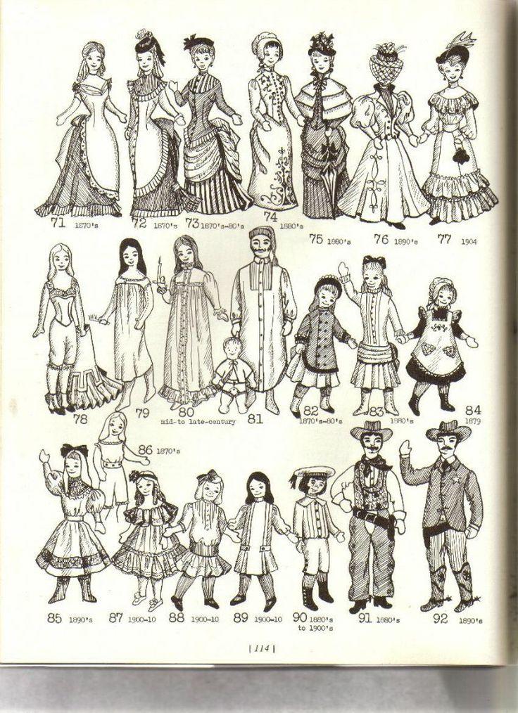 Выкройки старинной одежды для кукол.