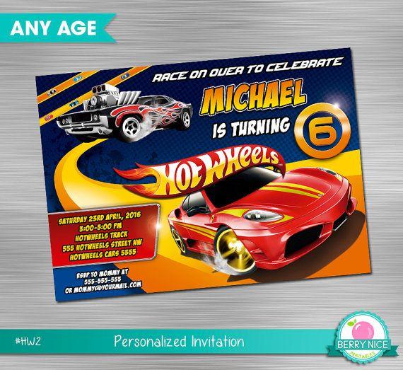 Hot Wheels Invitation DIY, Hot Wheels,Hot Wheels Printable Invitation,Hot  Wheels Digital