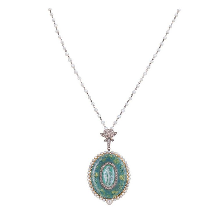 Verger Enamel Pearl Diamond Yellow Gold Platinum Pendant Watch | circa 1905 http://www.1stdibs.com/jewelry/watches/pocket-watches/