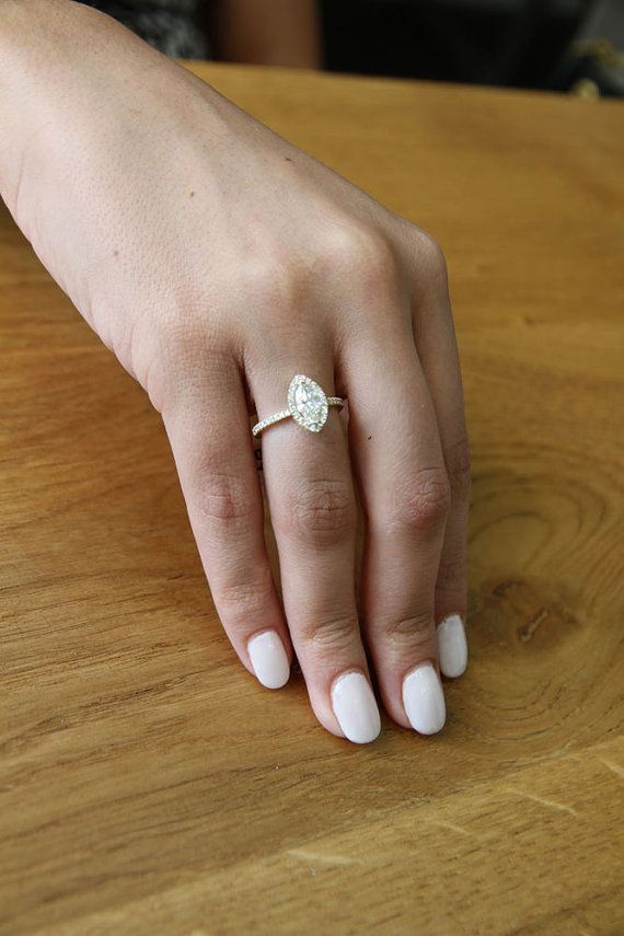 Marquise Ring Halo Engagement Ring 14K Gold Ring by DiamondsMine