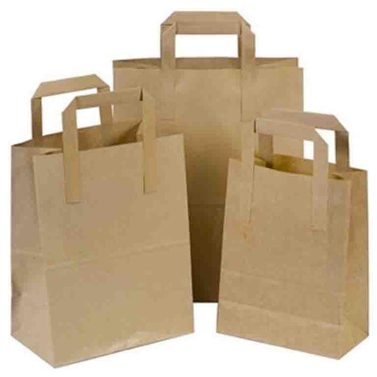 Natural Brown SOS Paper Bags wholesale with Flat Handles – Pico Bags