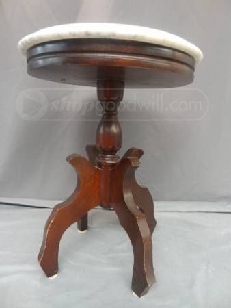 Victorian Mahogany Wood Side Table With Marble Top. Marble Was Made In  Italy.