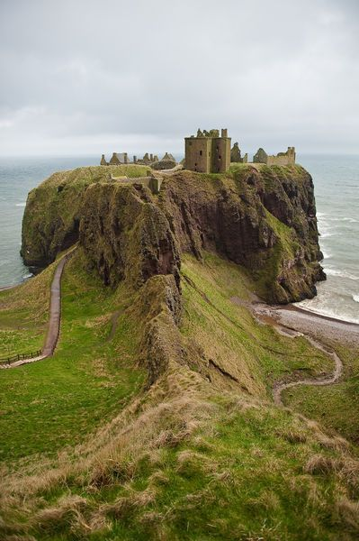 Dunnottar Castle is a ruined medieval fortress located upon a rocky headland on the north-east coast of Scotland, about two miles south of Stonehaven