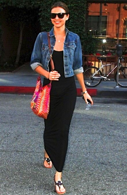 black maxi + denim jacket.