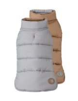 """Fab Dog Reversible Puffer Vest Dog Jacket, Squirrel Camel/Gray, 18"""" Size 18-Inch"""