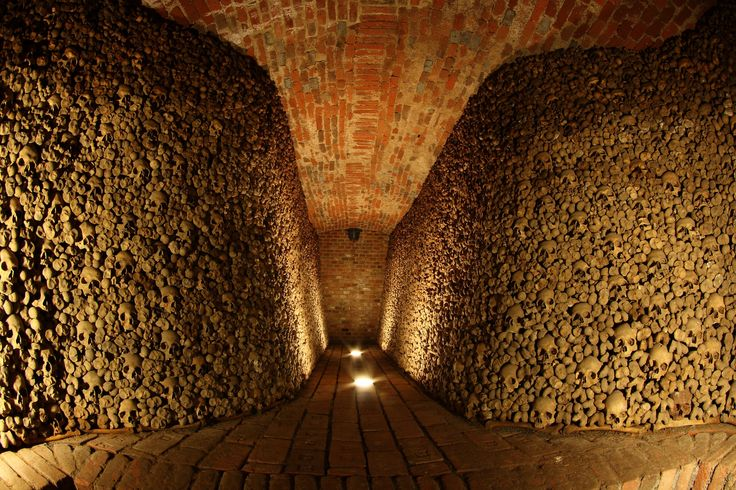 Only rediscovered in 2001 during an archaeological dig, the Brno Ossuary is 800 years old and holds the remains of some 50,000 people.  Located in Brno, Czech Republic.