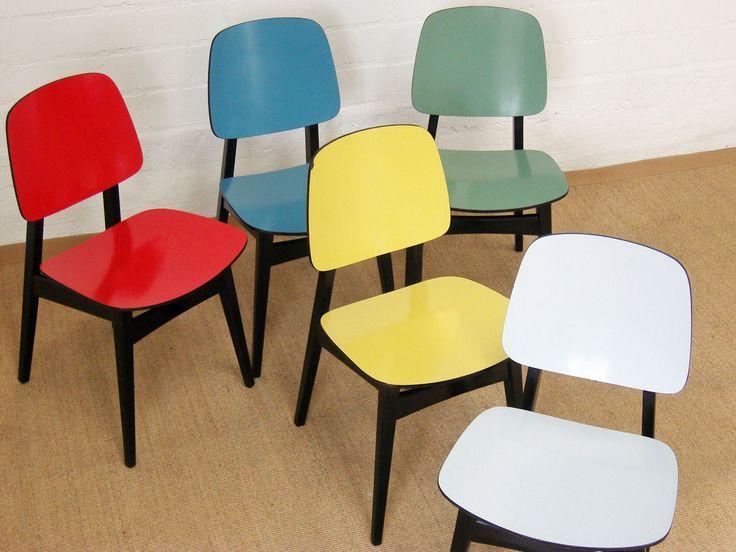 orig LÜBKE Stuhl BLAU chair chaise 1 - 4 stühle dining chair 50er - Designer Esstisch Kaleidoskop Effekte