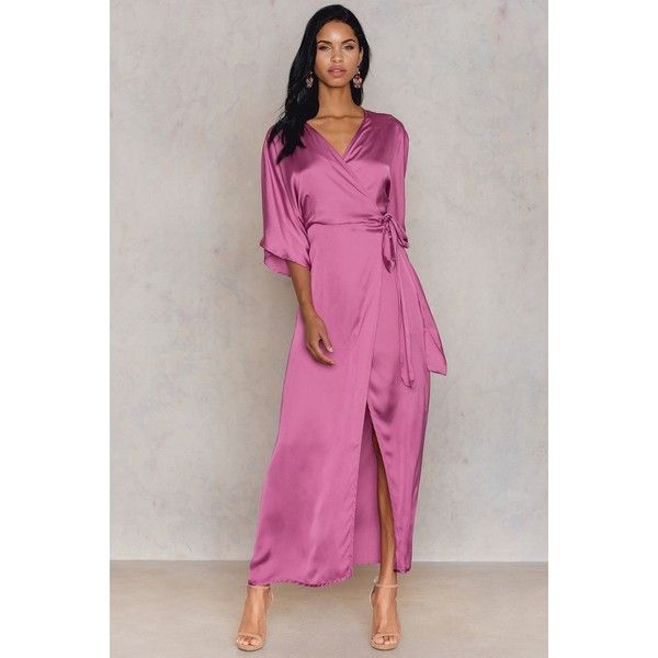 Hannalicious x NA-KD Kimono Mid Sleeve Maxi Dress (€70) ❤ liked on Polyvore featuring dresses, pink rose, maxi dresses, kimono sleeve dress, long sleeve dress, midi dress and pink long sleeve dress