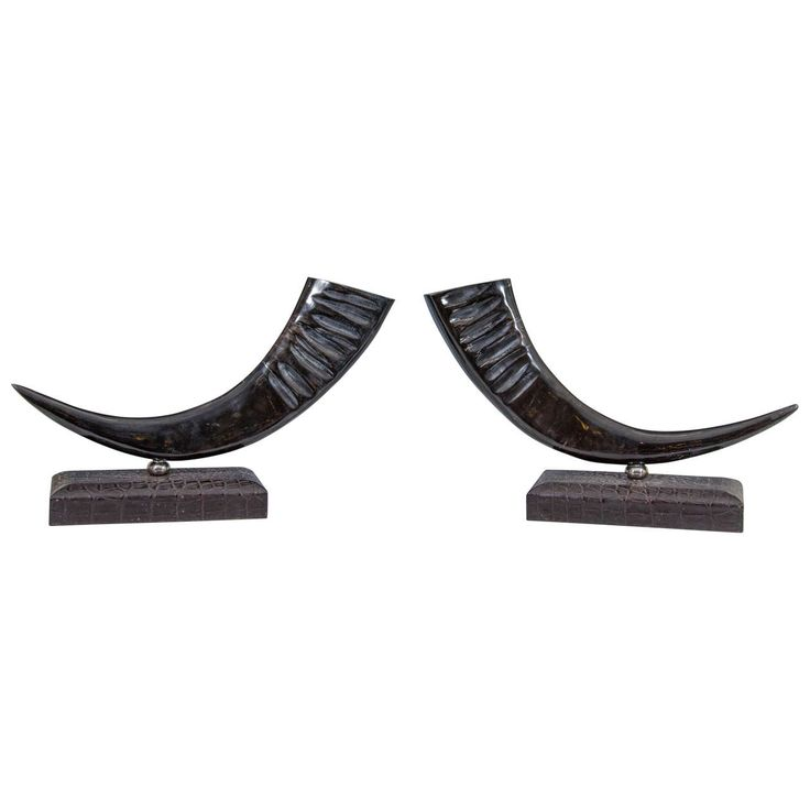 Midcentury Decorative Sculptural Buffalo Horns | From a unique collection of antique and modern sculptures at https://www.1stdibs.com/furniture/decorative-objects/sculptures/