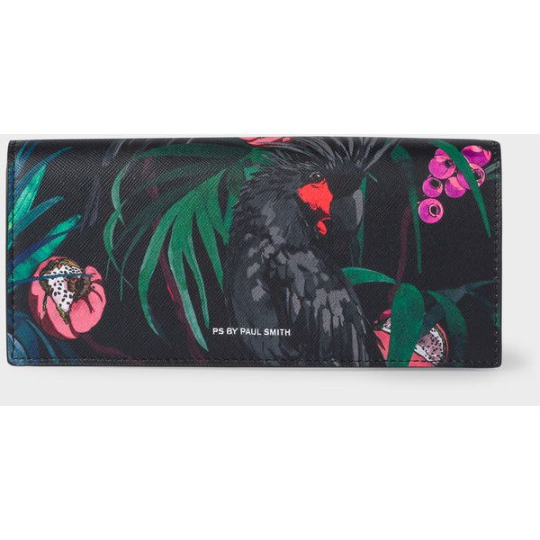 Paul Smith Women's Black 'Cockatoo' Print Leather Tri-Fold Purse (11,900 DOP) ❤ liked on Polyvore featuring bags, wallets, genuine leather credit card holder wallet, trifold wallet, leather wallets, print wallets and coin wallet