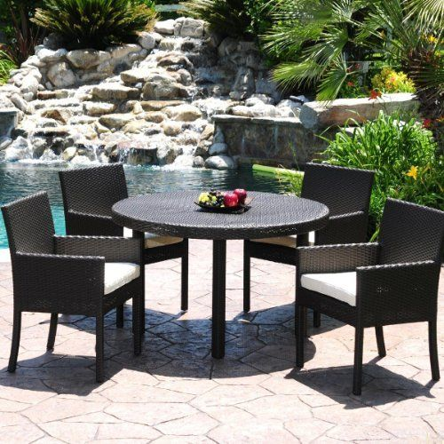 Caluco Dijon 4-person Resin Wicker Patio Dining Set With Glass Top Table - Dark Java by Caluco. $1319.00. Hand-woven all weather wicker resists fading and chipping. Optional Sunbrella fabric cushions remain vibrant in all weather conditions. Weep holes allow moisture to escape for durability and long lasting use. Powder coated frame is lightweight and rust resistant. Set Includes: Dining Table and 4 Dining Arm Chairs. Caluco Dijon 4-Person Resin Wicker Patio Dini...