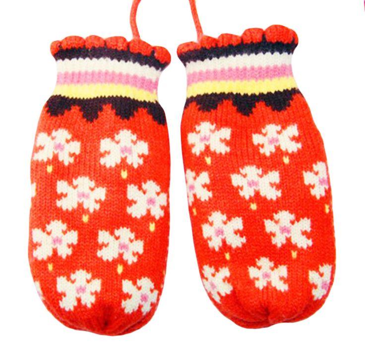 Children Flower Gloves Knit Warm Neck Hung Orange Mittens (3-8 Years)