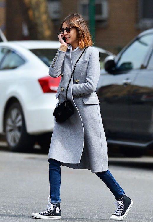Le Fashion Blog Ways To Wear Black High Top Converse Sneakers Grey Coat Chanel Crossbody Bag Skinny Jeans Model Style Alexa Chung Via Miss Sheffield