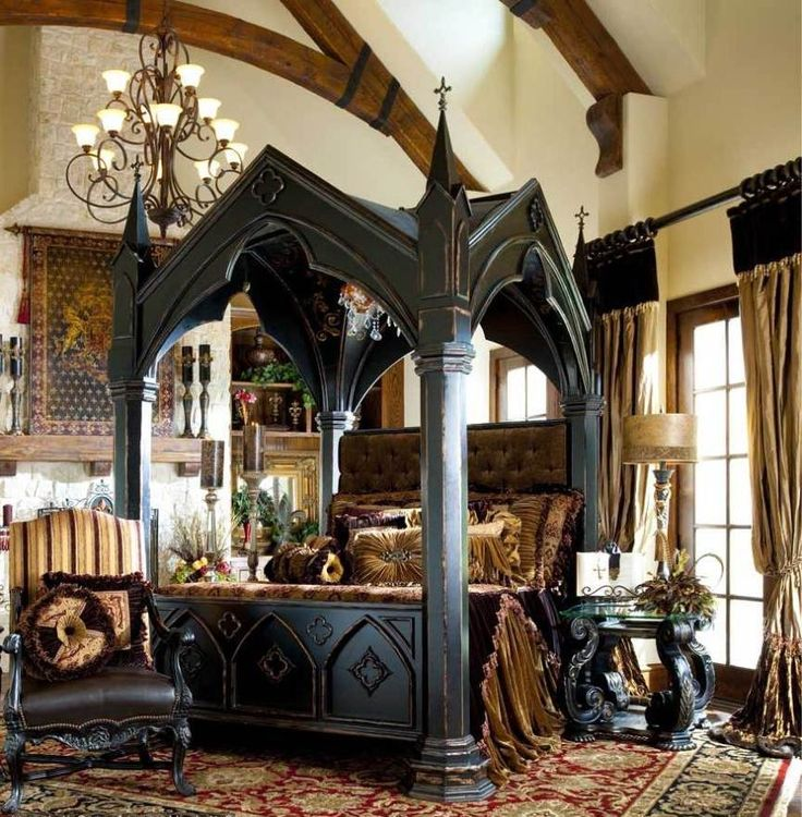 Bedroom: Impressive Gothic Bedroom Designs With Black Canopy Bed Also  Luxurious Rugs And Classic Armchair And Coffee Table Plus Bronze  Chandeliers Design ... - Best 25+ Medieval Bedroom Ideas On Pinterest Castle Bedroom