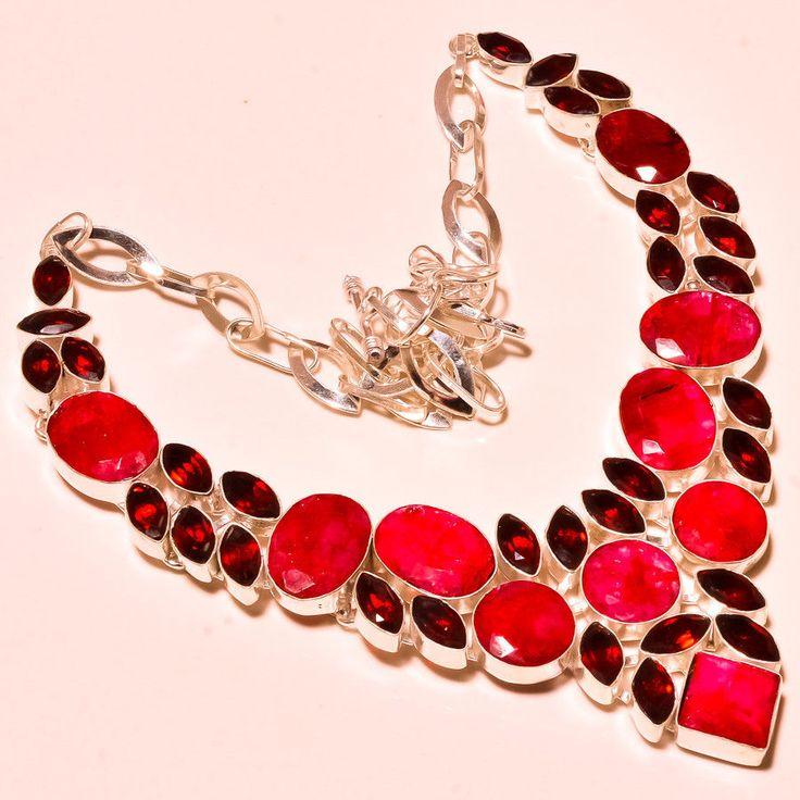 "Elegant Kashmiri Ruby With Mozambique Garnet Gemstone Jewelry Necklace 18"" #Handmade #Choker"