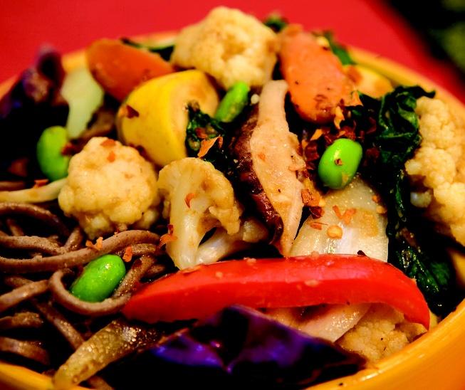 Open Sesame Edamame Stirfry Noodle Bowl, pg.116 Real-Life Vegan