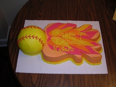 Softball birthday cake By luv2bakelady on CakeCentral.com