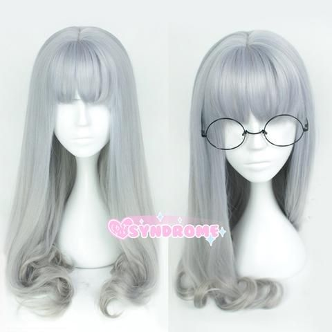 Long Silver Grey Straight with Curly Ends Harajuku Wig SD00534