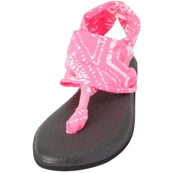 Sanuk Yoga Sling 2 Prints Sandal ($26) ❤ liked on Polyvore featuring shoes, sandals, hot pink tribal, hot pink shoes, slingback sandals, strap sandals, yoga sandals and slingback shoes