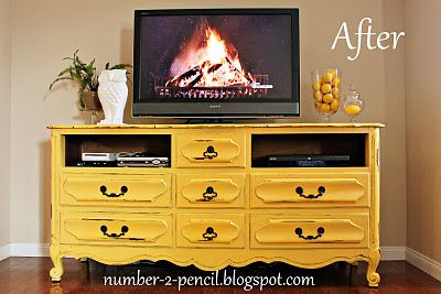 love the idea of taking out a drawer for the dvd player!: Media Rooms Ideas Diy, Vintage Tv Cabinets Ideas, Vintage Dressers, Color, Old Dressers, Yellow Dresser, Media Cabinets Ideas, Diy Paintings Furniture Yellow, Entertainment Center