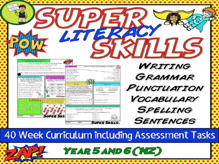 This resource covers the integral surface and deep feature writing skills of grammar, punctuation, sentence structure, spelling and vocabulary! It contains a full year of activities and assessments to cover the skills of literacy in an easy, structured, c...