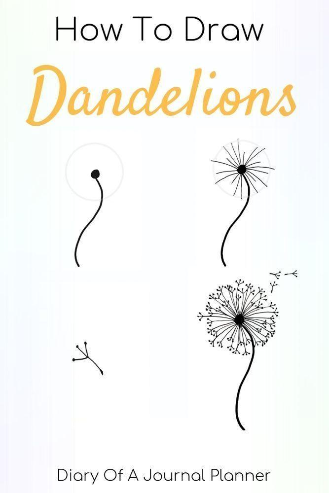 Elegante How To Draw A Dandelion Easy Dandelion Drawing Step By Step Tutorial Dibujo De Diente De Leon Revistas De Arte Garabateado Dibujos De Arte Simples