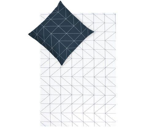 Renforcé-Wendebettwäsche Marla, Navyblau, Weiß