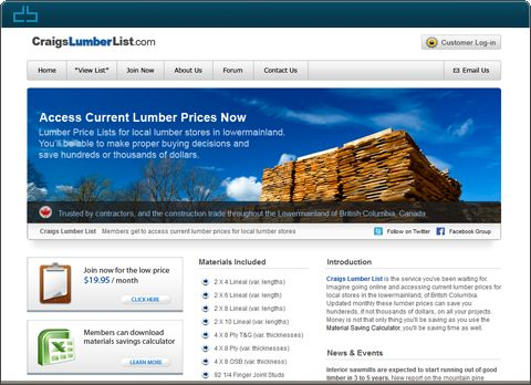 Design by DrawBlue.com - Craigslumberlist.com -  Membership Website -  A membership based price comparison website for lumber and various construction materials such as drywall and wiring.
