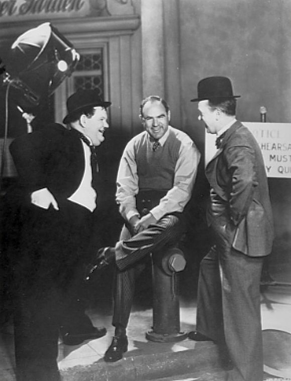 Oliver Hardy, Hal Roach and Stan Laurel