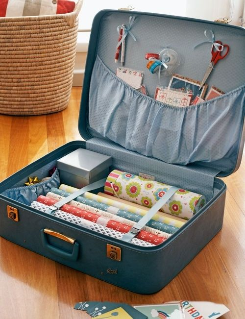 DIY Suitcase Gift Wrapping Station : keep all your wrapping supplies in one convenient place then tuck away when not in use... so smart! by valarie