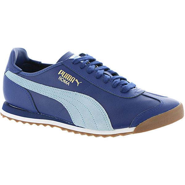 PUMA Roma OG 80S Men's Blue Sneaker (63 CAD) ❤ liked on Polyvore featuring men's fashion, men's shoes, men's sneakers, blue, mens sport shoes, mens sports shoes, 80s mens shoes, mens navy blue sneakers and mens sneakers