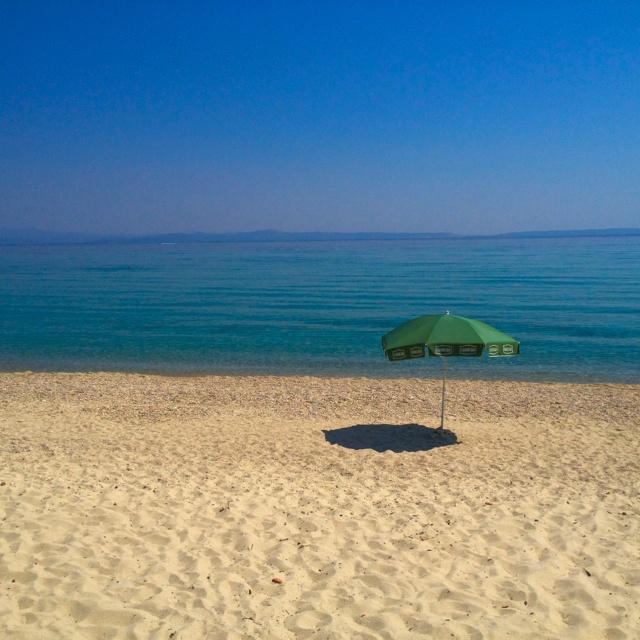The sandy beach of Villa Despina in Polichrono, Halkidiki
