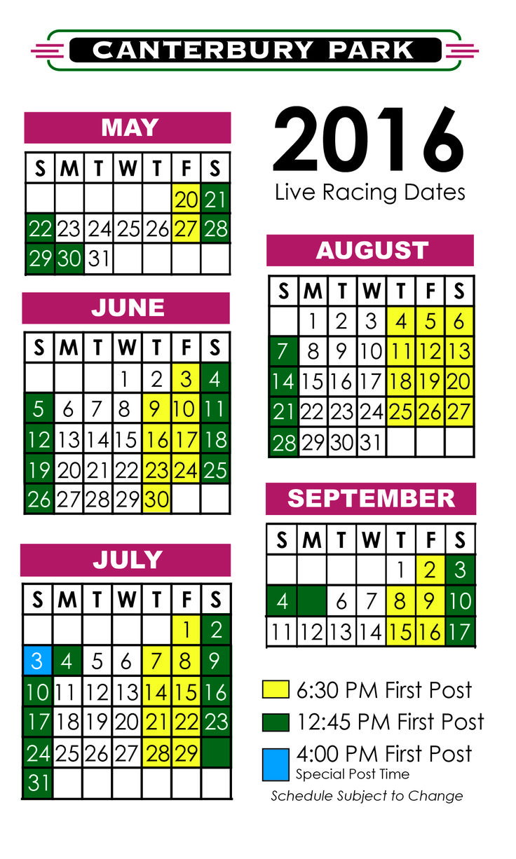 Picture of Live Racing Schedule 2016