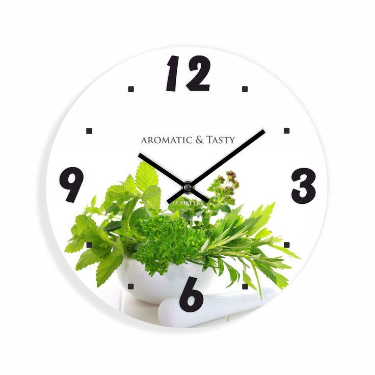 Bílé kuchyňské hodiny s motivem bylinek