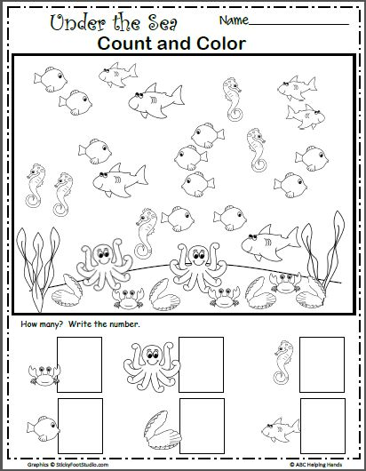 Under the Sea Count and Color Preschool writing