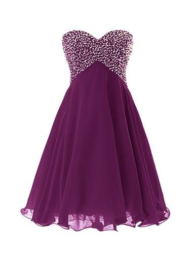 DIYouth Cheapest Mini Chiffon Beading Homecoming Dress/Bridesmaid Dress