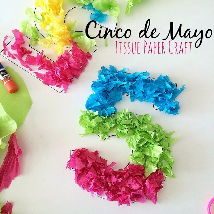Cinco de Mayo Tissue Paper Craft. Simple, cute, and fun way to craft with your kids and decorate for all your Cinco de Mayo festivities!