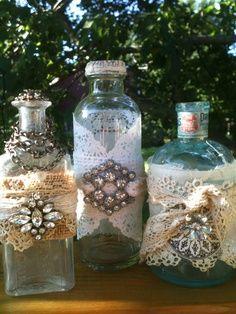 alteret antique bottle art   Altered bottles                              …