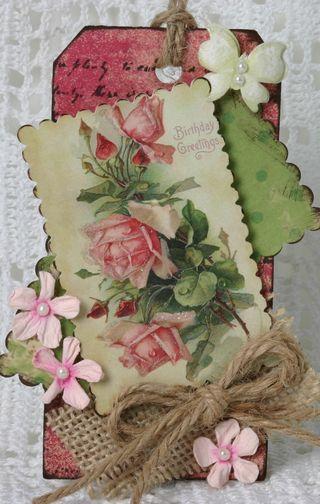 beautiful vintage tag: Red And Pink, Twine Flowers, Rose Tags, Scrapbook Tags, Burlap Rose, Vintage Greeting Cards, Pink Rose, Beautiful Tags, Beautiful Vintage