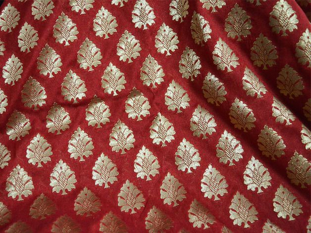 Other – Maroon and Gold Pure Silk Fabric Remnant. – a unique product by indianlacesandfabric on DaWanda
